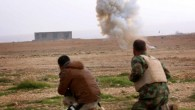 Kurdish peshmerga fighters detonate a landmine planted by the Islamic State (IS) group fighters on the outskirts of the village of Sinuni in the northern Iraqi district of Sinjar on January 15, 2015, after it was recaptured by Kurdish peshmerga troops. (AFP/SAFIN HAMED)