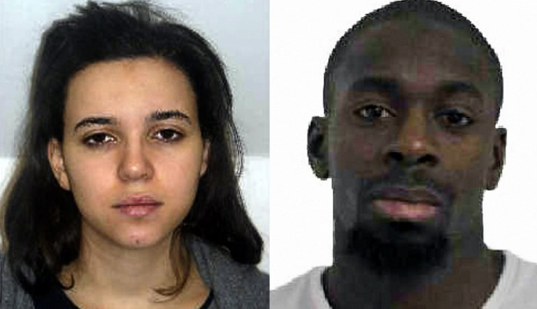 An image released on January 9, 2015 by the French police shows Hayat Boumeddiene (L) and Amedy Coulibaly (R), who killed four people at a Jewish grocery store on January 9, 2015. (photo credit: AFP/FRENCH POLICE)