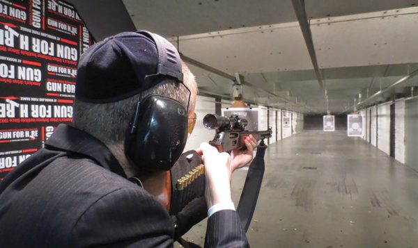 Arms and the man: Josh Levy at the Gun For Hire shooting range, in Woodland Park, N.J. Courtesy of Josh Levy