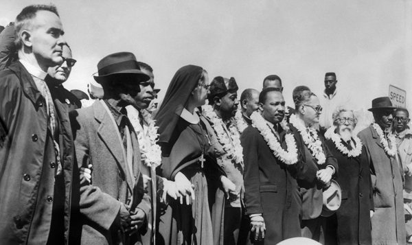 Rev. Martin Luther King, other civil rights leaders and clergy, including Rabbi Abraham Joshua Heschel. Getty Images