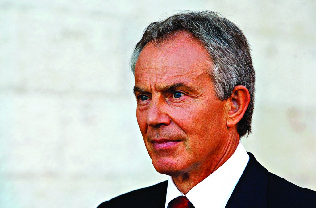Middle East envoy Blair holds an interview with Reuters in Jerusalem