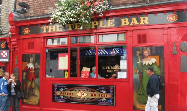 Dublin's Temple Bar, in the city's cobblestoned central nightlife district. Wikimedia Commons