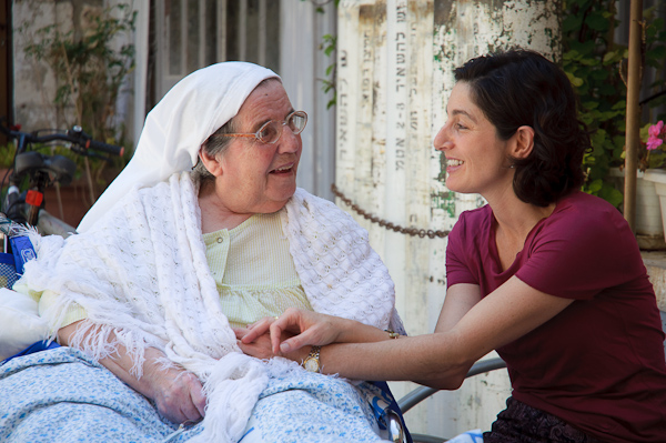 Chaplain Miriam Berkowitz (r) and one of her patients at Jerusalem's St. Louis Hospital (Photo credit: Yitz Woolf)