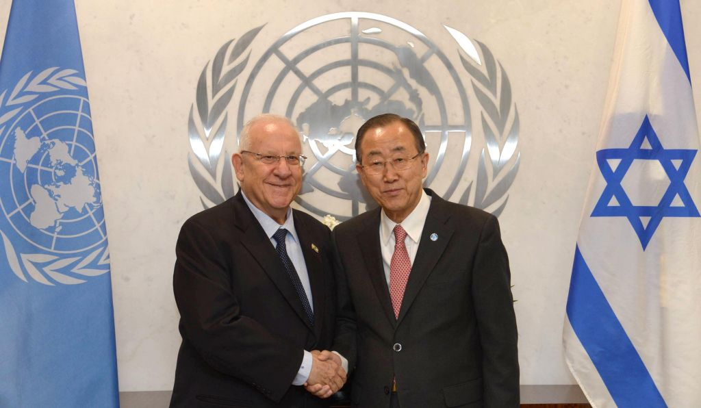 Reuven Rivlin, left, meeting Ban Ki-moon in New York on January 26, 2015. (photo credit: Mark Neyman/GPO)