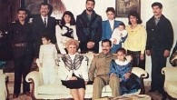 Raghad, in the blue blazer, holds her baby in this photograph of the Saddam Hussein family from 1980s. Her new jewelry line was inspired by her father and her husband