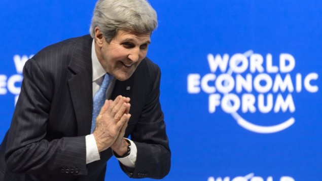 US Secretary of State John Kerry bows to someone after his speech during a panel session at the World Economic Forum, in Davos, Switzerland, Friday, Jan. 23, 2015. (photo credit: AP/Keystone, Laurent Gillieron)