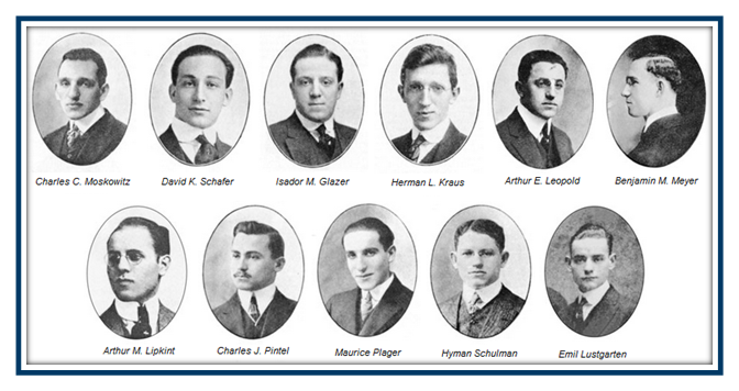 """The so-called """"Immortal Eleven"""" of the Jewish fraternity Alpha Epsilon Pi, or AEPi, who founded the fraternity at New York University in 1913, at a time when Jews were barred from Greek organizations (courtesy)"""