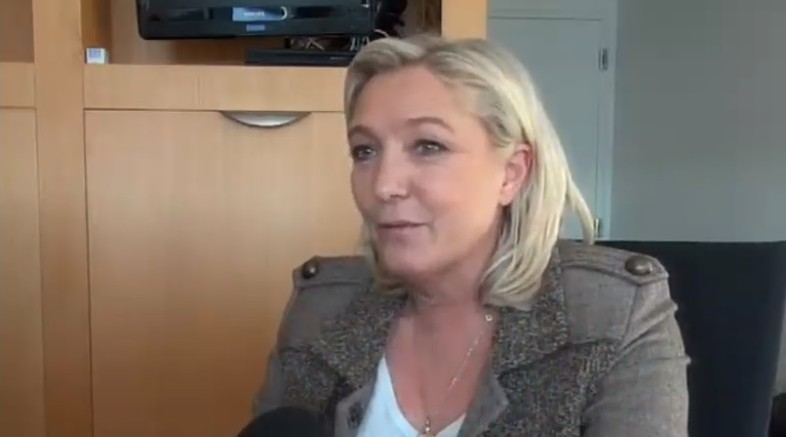 Front National leader Marine Le Pen interviewed for Channel 2, on Tuesday, January 13, 2015. (photo credit: Screen capture)
