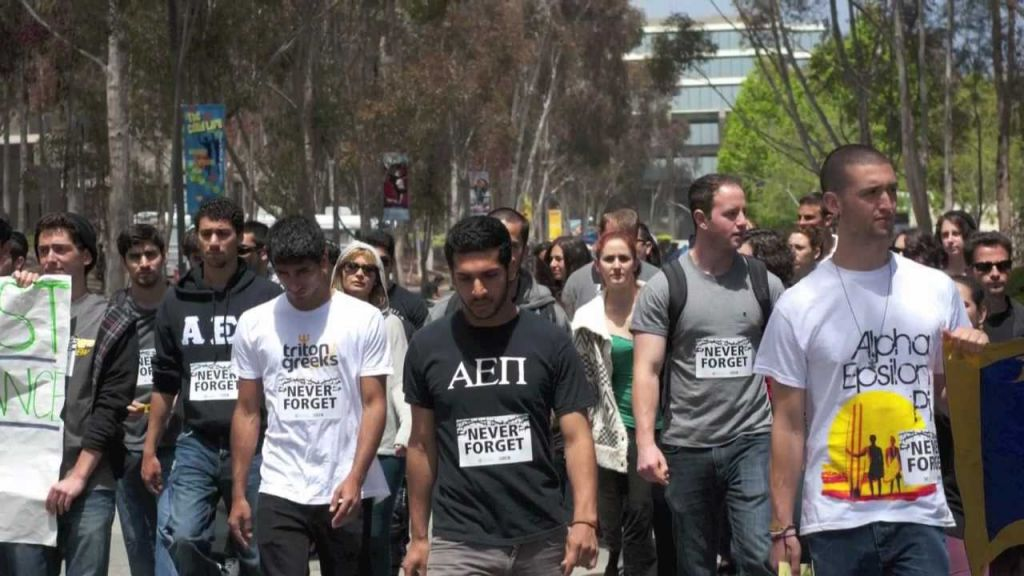 The Jewish fraternity AEPi is known for publicly supporting Israel, and also for its public Holocaust commemorations each year. In spring 2012, the AEPi chapter at the University of California San Diego organized the Walk to Remember, shown here (courtesy)