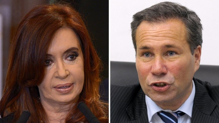 File photos of Argentine President Cristina Kirchner (L) taken in Buenos Aires on September 19, 2012 and of Argentina's deceased Public Prosecutor Alberto Nisman (R) taken in Buenos Aires on May 20, 2009 (Photo credit: Juan Mabromata/AFP)