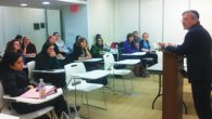 Fertile ground for controversy: Stern College Rabbi Moshe Kahn addresses students. Hannah Dreyfus/JW