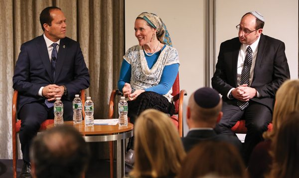 Jerusalem Mayor Nir Barkat, left, with Racheli Fraenkel, center, and Ofir Shaer. Courtesy of UJA-Federation