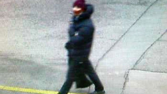 Photo believed to show the suspect in a shooting at a freedom-of-speech event in Copenhagen. The photo is believed to be taken by a street camera near the spot where the getaway car was later found dumped, February 14, 2015. (photo credit: AP/Copenhagen Police)