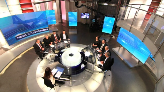 Israeli political party leaders gather at Channel 2 studios in the Neve Ilan near Jerusalem on February 26, 2015 for a televised debate. (Photo credit: Channel 2 News)