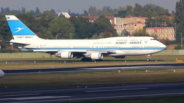 An illustrative photo of a Kuwait Airways plane taking off from Berlin-Tegel Airport in Germany in September 2014. (screen capture: YouTube)