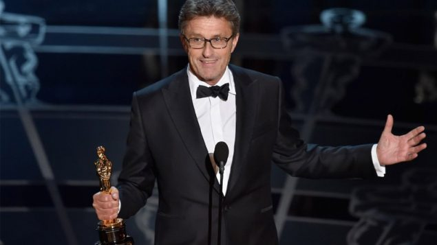 Filmmaker Pawel Pawlikowski accepting the Best Foreign Language Film Award for 'Ida' during the 87th Annual Academy Awards.