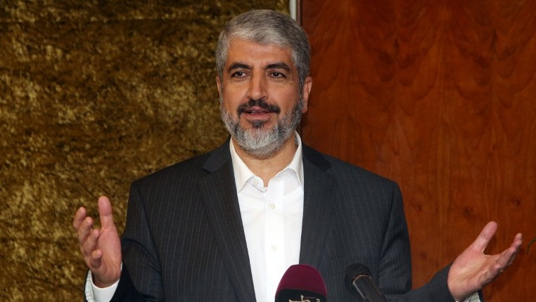 Hamas's exiled leader Khaled Meshaal speaking during a meeting at the International Union for Muslim Scholars September 21, 2014. (Photo credit: AFP / FAISAL AL-TAMIMI)