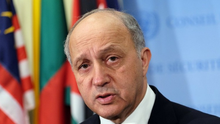 French Foreign Minister Laurent Fabius speaks to the media,  March 27, 2015. (photo credit: AFP/JEWEL SAMAD)