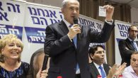 Bibi Netanyahu at a campaign stop. His Likud Party trails in the polls. Getty Images