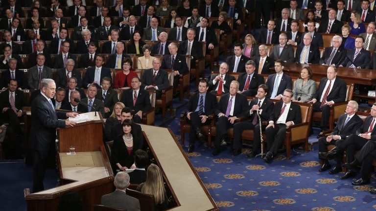 Prime Minister Benjamin Netanyahu speaks about Iran during a joint meeting of the United States Congress in the House chamber at the US Capitol on March 3, 2015 in Washington, DC. (Win McNamee/Getty Images/AFP)