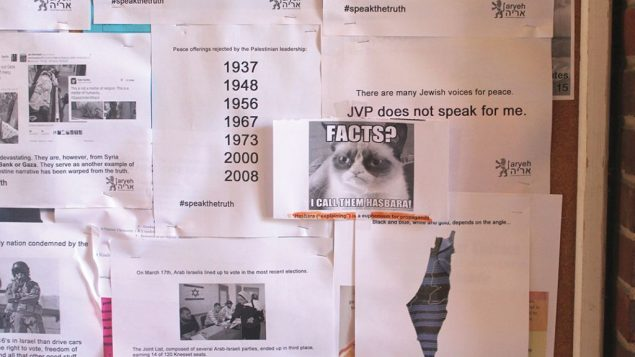 At the Columbia/Barnard Hillel, students hung up thousands of pro-Israel posters Monday night. Hannah Dreyfus/JW