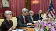 U.S. Secretary of State John Kerry, second from left, and other negotiators during a recent Iran talks session in Switzerland.