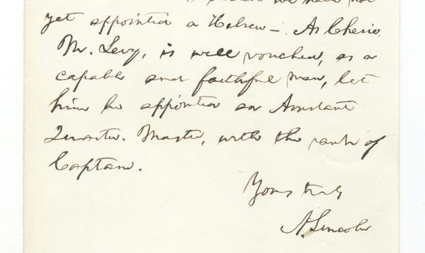 Lincoln's letter to Secretary of War Stanton on behalf C.M. Levy, who applied for the position of quartermaster.