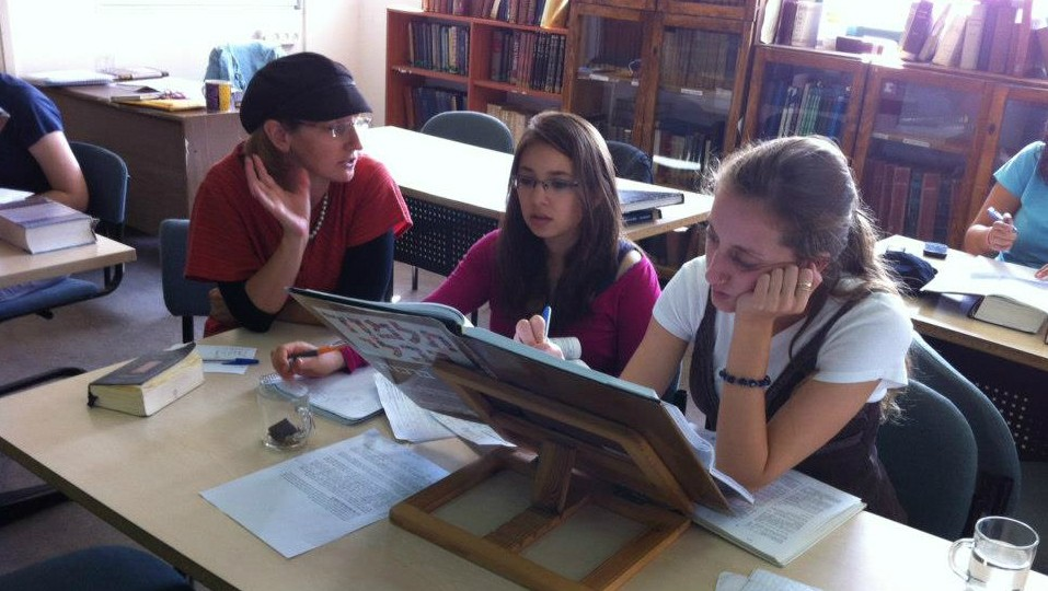 Illustrative: Talmud teacher Dr. Meesh Hammer-Kossoy with students at the Pardes Institute of Jewish Studies (courtesy Pardes Institute of Jewish Studies)