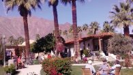 Palm Springs residents relax on the lawn of an apartment complex, framed by the San Jacinto Mountains. Hilary Larson/JW