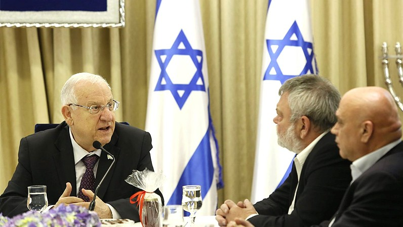 Member of the Meretz party meet with President Reuven Rivlin at the president's residence in Jerusalem on March 23, 2015. (photo credit: David Vaaknin/pool)