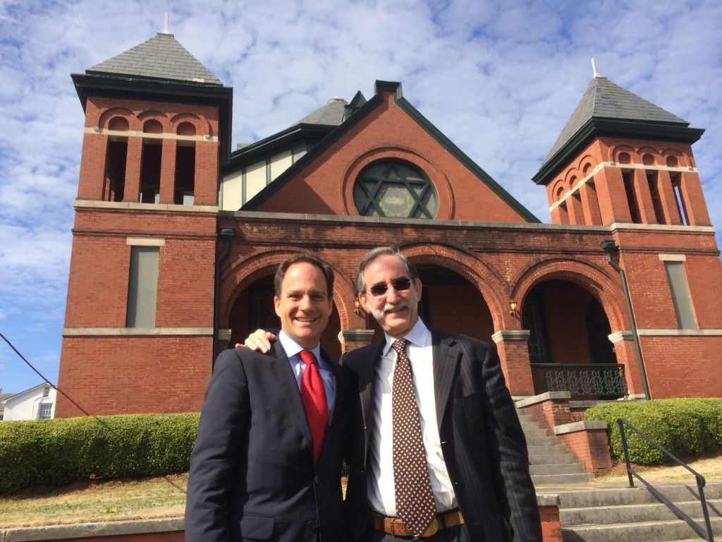 Rabbi Jonah Pesner and David Goodman, brother of slain Freedom Summer volunteer Andrew Goodman, at Selma's historic Reform synagogue, Temple Mishkan Israel Friday March 6, 2015. (courtesy Reform Action Center)