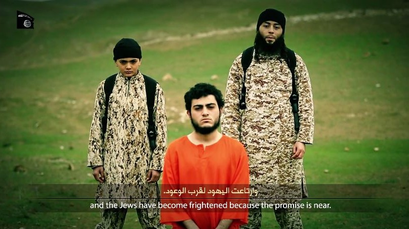 Muhammad Said Ismail Musallam, an Arab from East Jerusalem held captive by the Islamic State group for allegedly being a Mossad spy, shown in a video apparently showing his execution, March 10, 2015. ( screen capture: YouTube)