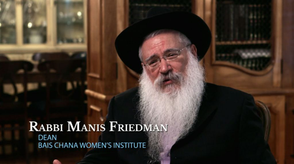 Rabbi Manis Friedman, dean of the Chabad Bais Chana Women's Institute, during his interview on the PBS special 'The Jewish Journey.' (Two Cats Productions and PBS)