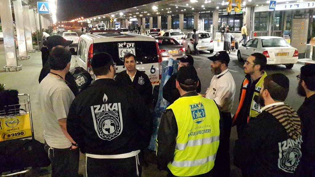 ZAKA team briefing at Ben Gurion airport