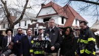 Mayor Bill de Blasio, with, to his right, Assemblywoman Rodneyse Bichotte and Fire Commissioner Daniel A. Nigro. Getty Images