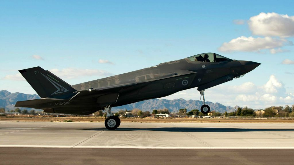 An F-35A designated for the Royal Australian Air Force landing at Luke Air Force Base in Arizona on December 18, 2014 (photo credit: AP Photo/ US Air Force/ Staff Sgt. Staci Miller)