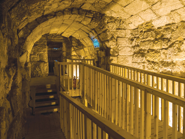 The tunnels below the Western Wall. Wikimedia Commons