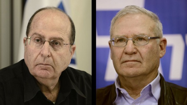Moshe Yaalon, à gauche, et Amos Yadlin (photo composite: Tomer Neuberg/Flash90)
