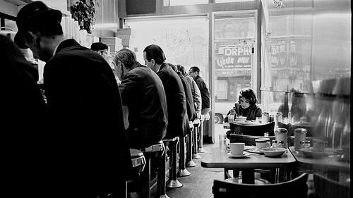 An archival photo of diners at B&H Dairy restaurant on Manhattan's Lower East Side. (Courtesy)