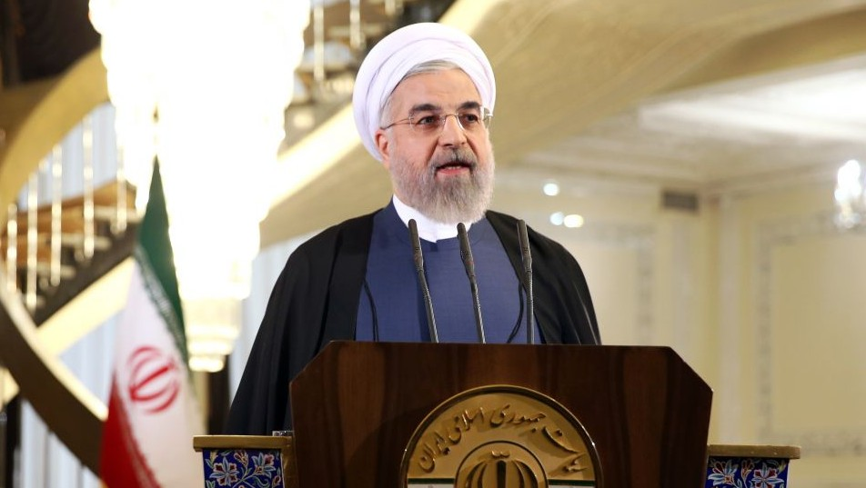 Iranian President Hassan Rouhani in Tehran, Iran, Friday April 3, 2015 (Photo credit: AP/Ebrahim Noroozi)