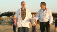 Dr. Ohad Birk, left, with Dr. Khalil Elbedour in a Bedouin village. Courtesy of Ben-Gurion University