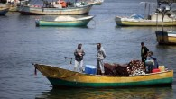 Illustrative: Palestinian fishermen, as seen in boats at the port of Gaza City, May 13, 2015 (Aaed  Tayeh/Flash90)