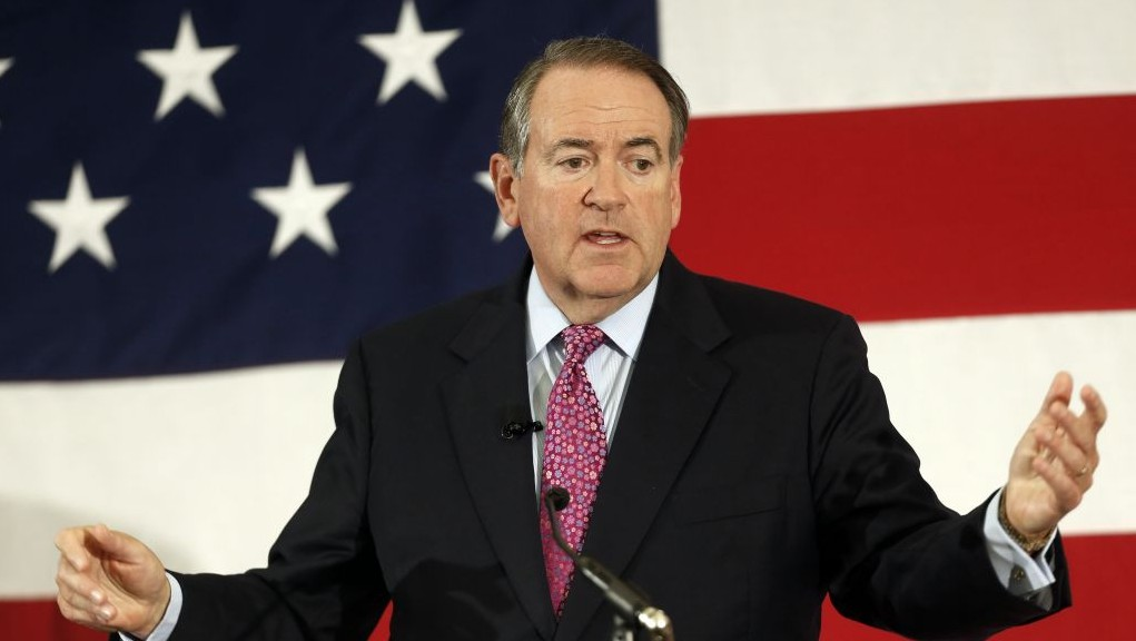 In this April 18, 2015 file photo, former Arkansas Republican Gov. Mike Huckabee speaks at the Republican Leadership Summit in Nashua, N.H. (AP Photo/Jim Cole, File)
