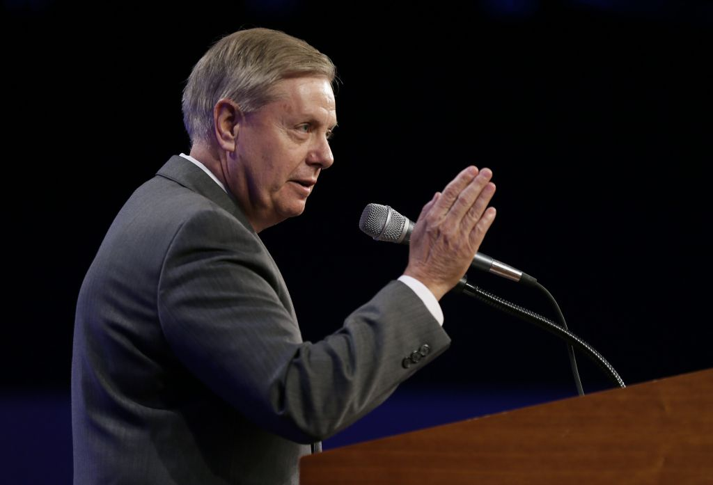 Sen. Lindsey Graham, R-S.C., speaks during the Iowa Republican Party's Lincoln Dinner, Saturday, May 16, 2015, in Des Moines, Iowa. (AP Photo/Charlie Neibergall)