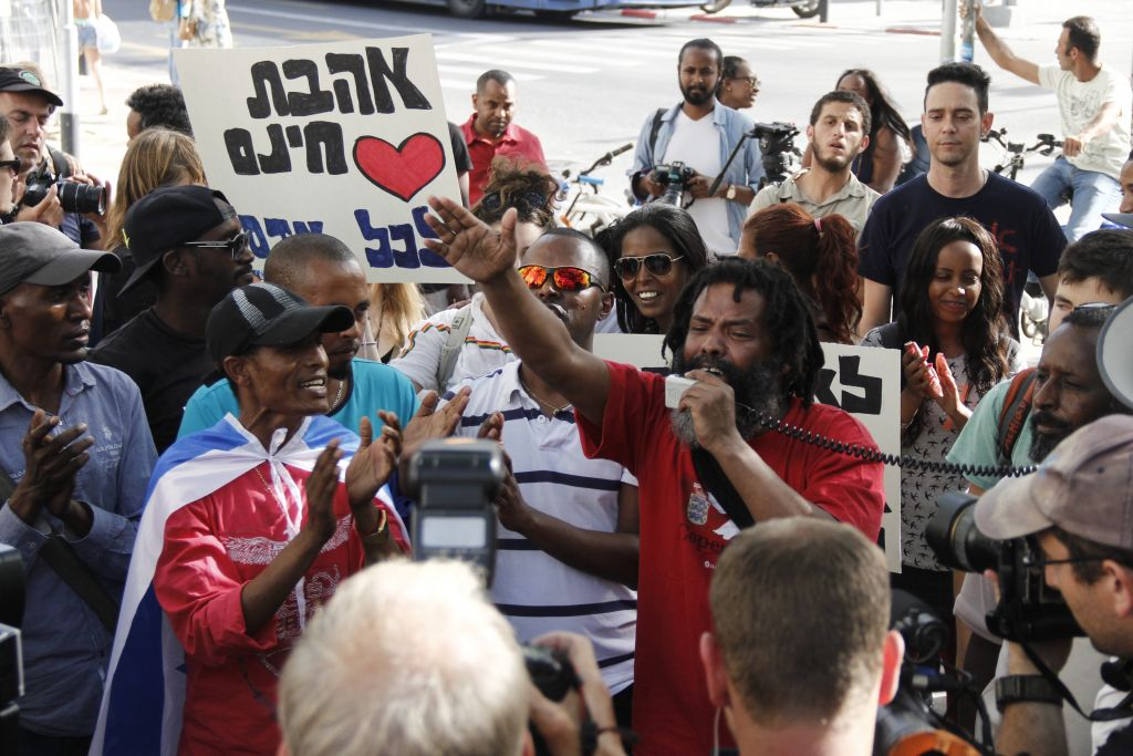 Protesters call for an end to discrimination against Israelis of Ethiopian descent at a protest in Tel Aviv on March 18, 2015 (Judah Ari Gross/Times of Israel)