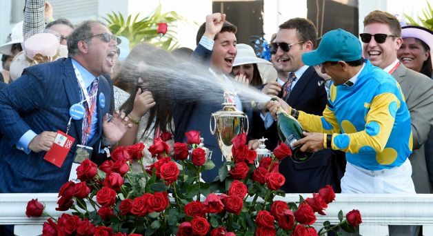 Ahmed Zayat celebrates after winning the 141st Kentucky Derby on American Pharaoh on May 2. Via timesunion.com