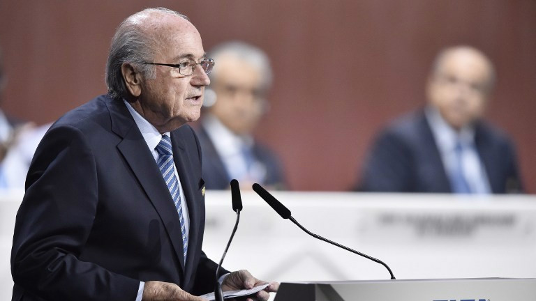 FIFA president Sepp Blatter delivers a speech at the beginning of the 65th FIFA Congress in Zurich, Switzerland, on May 29, 2015. (AFP/Michael Buholzer)