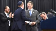 New York Gov. Andrew Cuomo speaks at a rally at Yeshiva Shaare Torah in Brooklyn in support of the Parental Choice in Education.