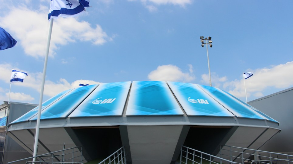 Le stand d'Israel Aerospace Industries (Crédit : Times of Israël)