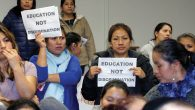 Protests over budget cuts are frequent at East Ramapo school board meetings. Michael Datikash/JW